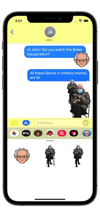 Screenshot of Bernie stickers